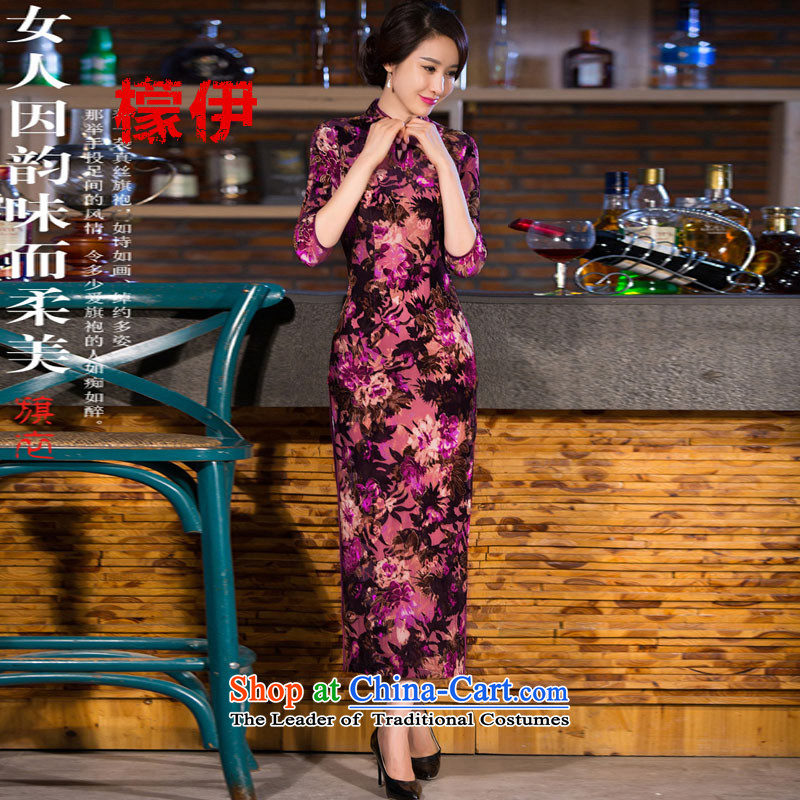 The city of燼utumn 2015 Sau San improved emulation, Sepia scouring pads in long-sleeved ethnic cheongsam dress燗燲XL