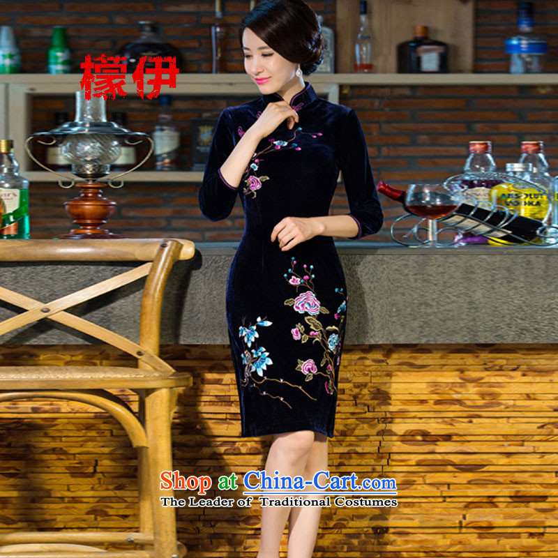 The city of 2015 autumn and winter new MOM Pack Emulator scouring pads in the skirt qipao Kim sleeve length_ Improved retro wedding blue S