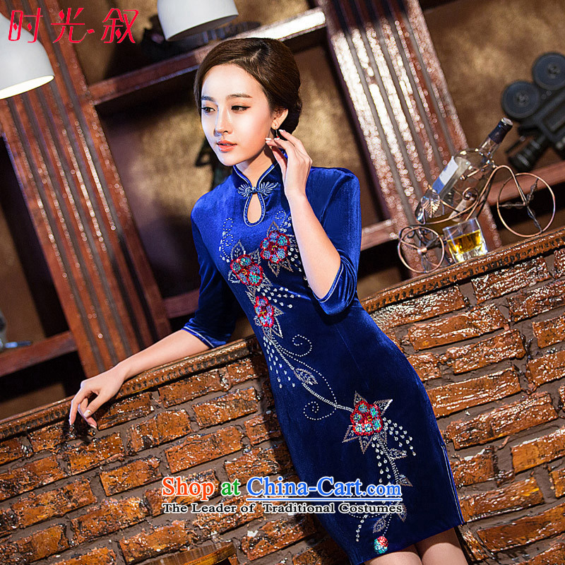Time the new 2015 Syria cheongsam dress improvements Kim scouring pads in the retro in older wedding dresses mother load cuff dresses blue XXL