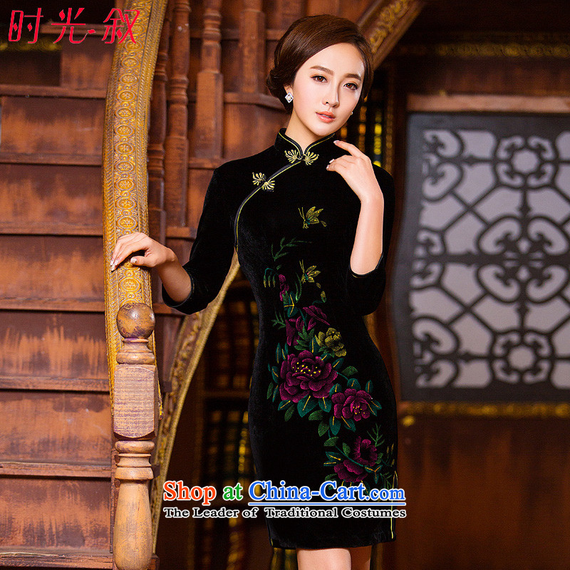 Time for the new products in spring and autumn Syrian gold velour robes and Stylish retro genuine improvement in long-sleeved stretch mother load pure color black cheongsam M