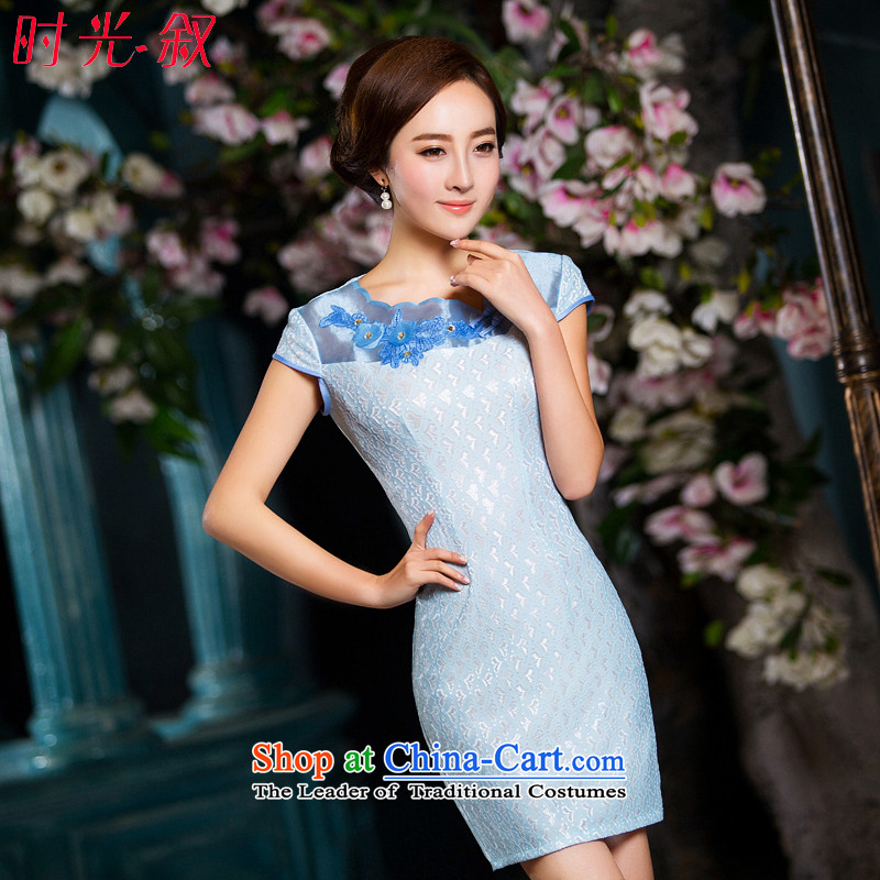 Time-to-day qipao 2015 Syria new short of adolescent girls skirt light blue autumn load improved cheongsam dress skyblue retro Sau San L