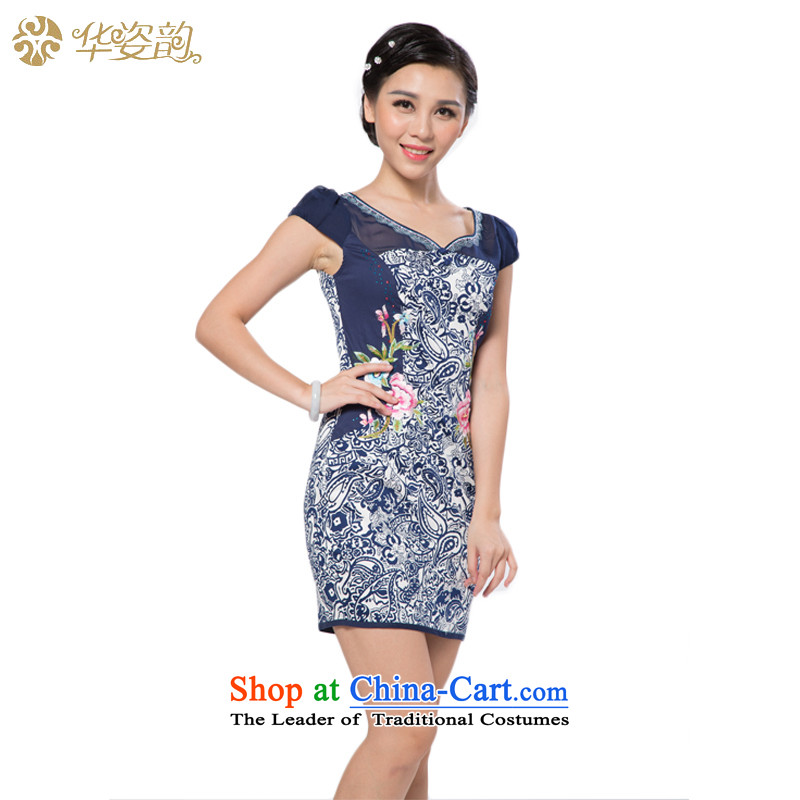 The 2015 Autumn Chinese Gigi Lai, short-sleeved round-neck collar short skirt fashion of the Sau San Stamp Pack and embroidered graphics thin dresses retro cheongsam dress female improved Tang dynasty dress dark blue S
