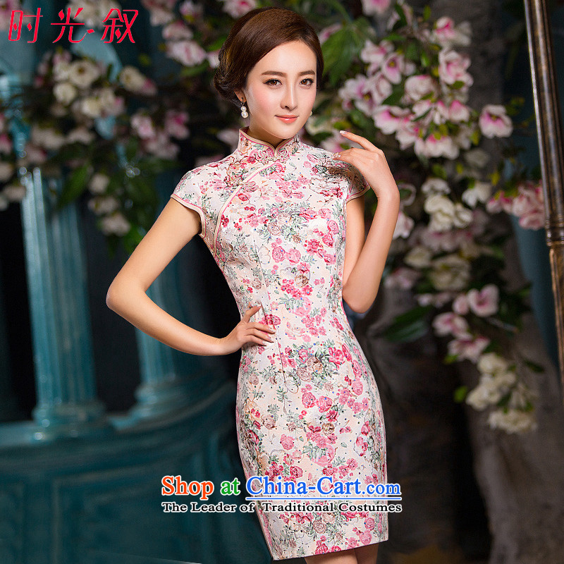 Time Syrian  cheongsam dress for summer 2015 daily fresh floral improved gentlewoman qipao short of Sau San female cheongsam dress photo color XL