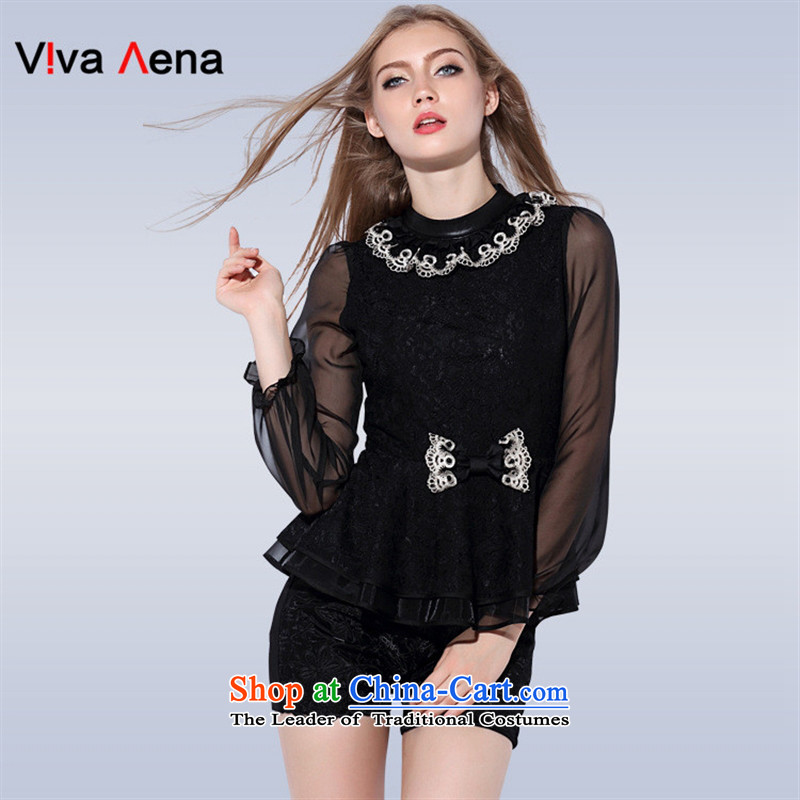 The Black Butterfly European Women's early autumn 2015 site new stylish leather wear the spell checker shirt collar female?VA87690?black?M