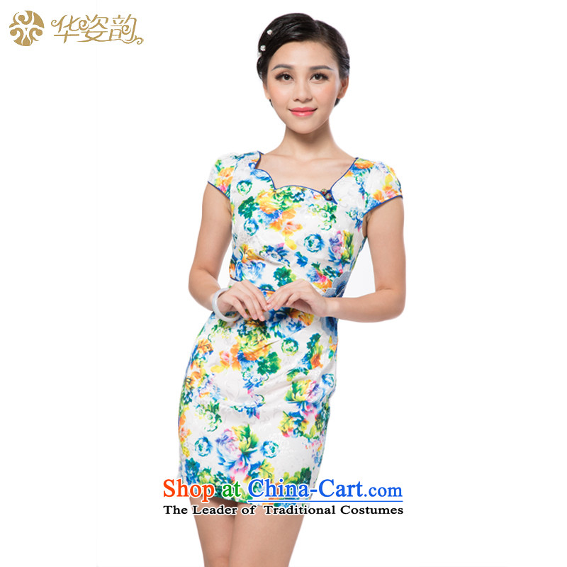 China following the new summer Gigi Lai and the relatively short time of Ms. qipao package and Sau San dresses qipao improved summer new women's name2 wind qipao gown embroidery short-sleeved white燲L