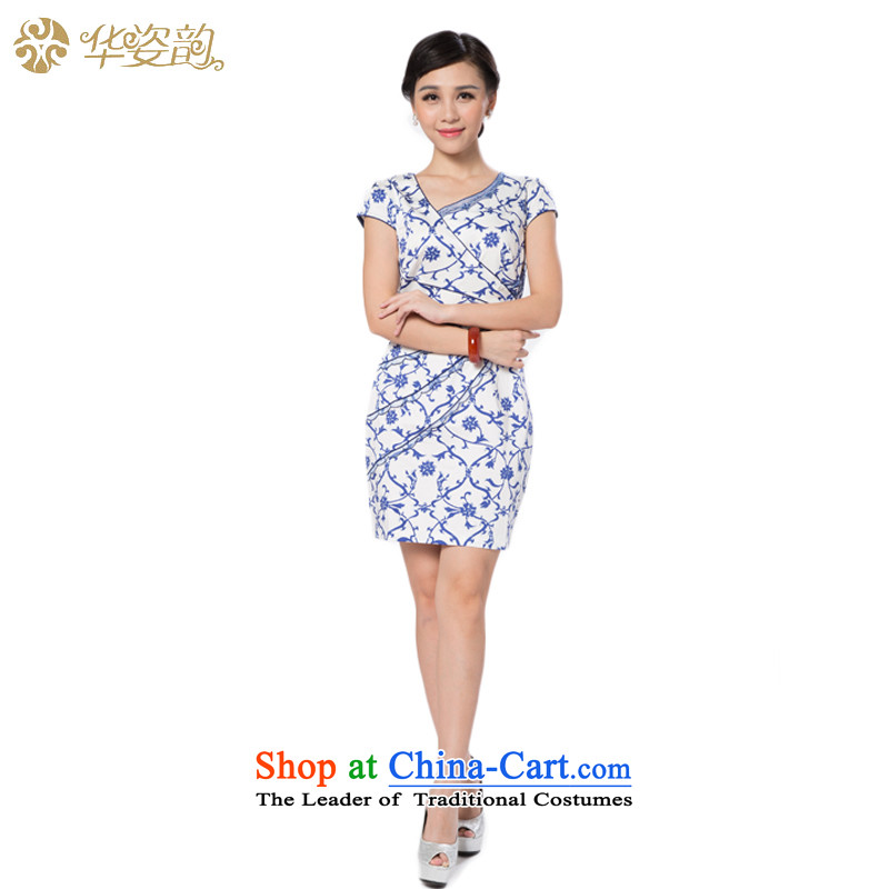 China following the new summer Gigi Lai and the relatively short time of Ms. qipao package and Sau San dresses cheongsam dress improved qipao improved summer Dark Blue?M