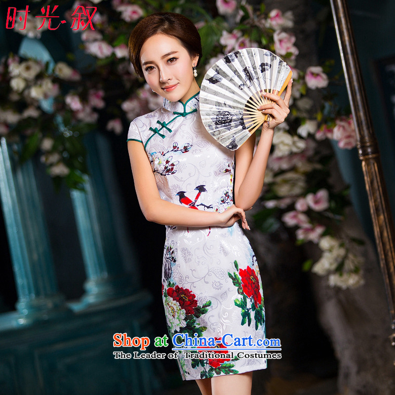 Time Syrian cheongsam dress autumn 2015 new boxed daily improved retro style qipao, Sau San short skirt female White?XL