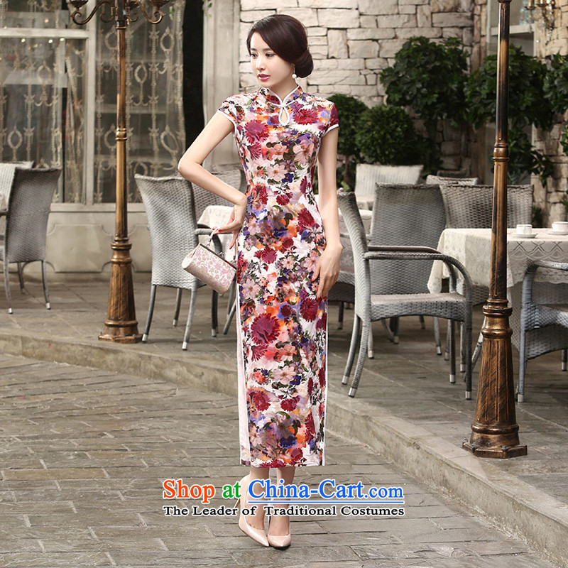 158 Jing New elegant Superior Sau San really improved long qipao velvet short-sleeved聽T0004聽picture color聽S