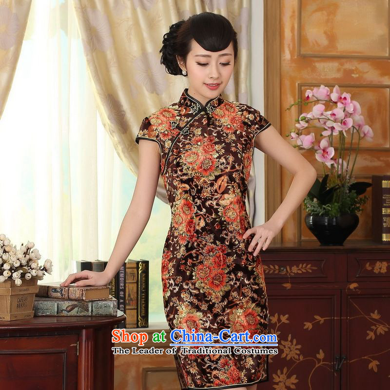 158 Jing Stretch Wool poster stylish Kim Classic short-sleeved short qipao TD0045 picture color 2XL