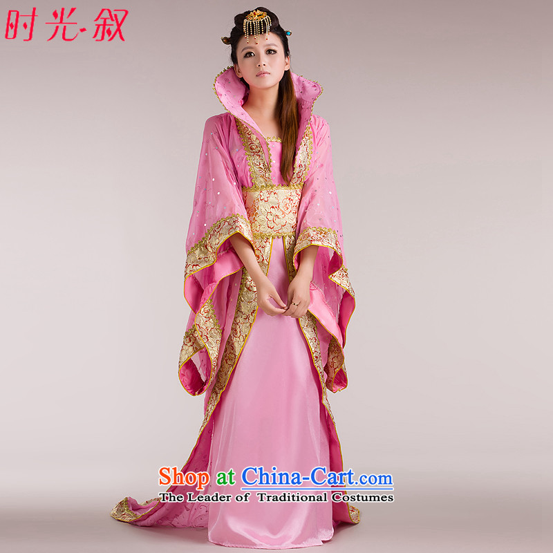 Time of the Tang dynasty princess Gwi-Syrian fairies skirt clothing palace tail Queen's princess sub-stage costumes Tang dynasty historian pink floor are suitable for 160-175cm code