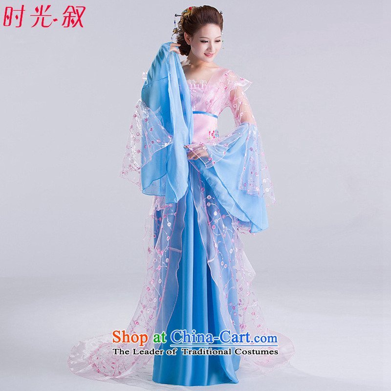 Time Syrian costume clothing fairies skirt women ancient Han-Tang dynasty costumes dance toner you can multi-select attributes by using the princess classic dance queen sleeper sofa skirt Tang replacing light blue photo building are suitable for 160-175cm