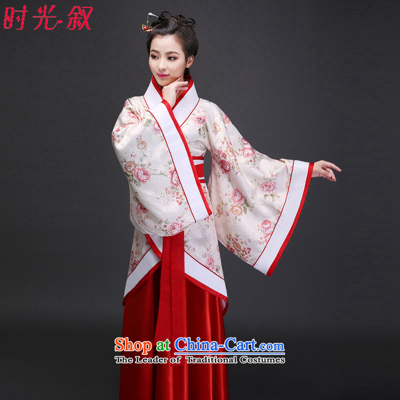 Syria Han-time loading of ancient costumes costume fairies skirt women clothes You can multi-select attributes by using the tracks were deep red floral improvements Yi Han-white photo building are suitable for 160-175cm code