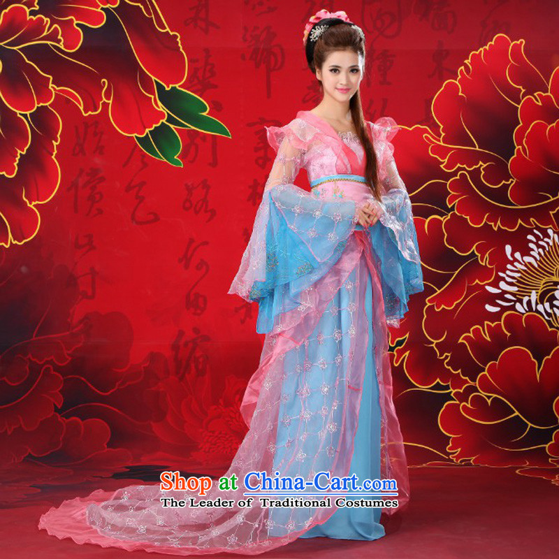 Time Syria Han to Tang clothing fairies skirt clothing court stage costumes Tang Wind Flower yarn will Han Dynasty cosplay photo album Tang Women's clothes light blue photo building are suitable for 160-175cm code