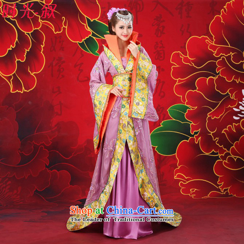 Time Syrian videos costume gwi princess fairies clothing Tang Women's clothes Queen's ancient costumes tail female cosplay photo building photo album will affect the purple 160-175cm fit