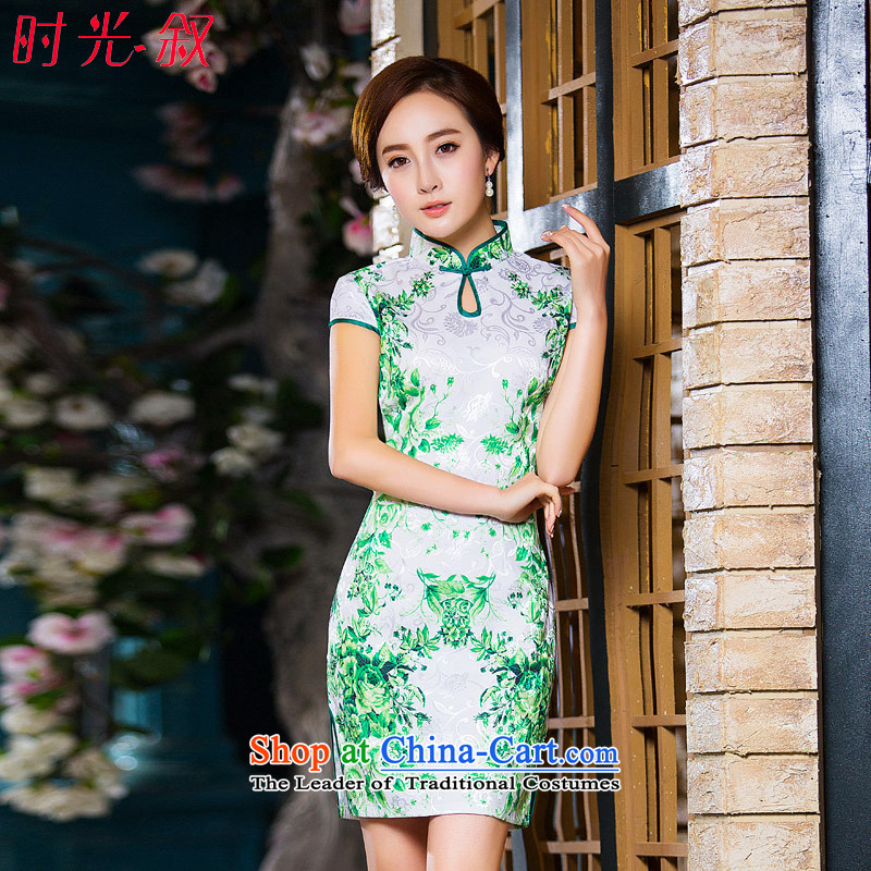 Time Syrian new autumn 2015 cheongsam with white short-sleeved improved retro daily cheongsam dress short of female temperament green燤