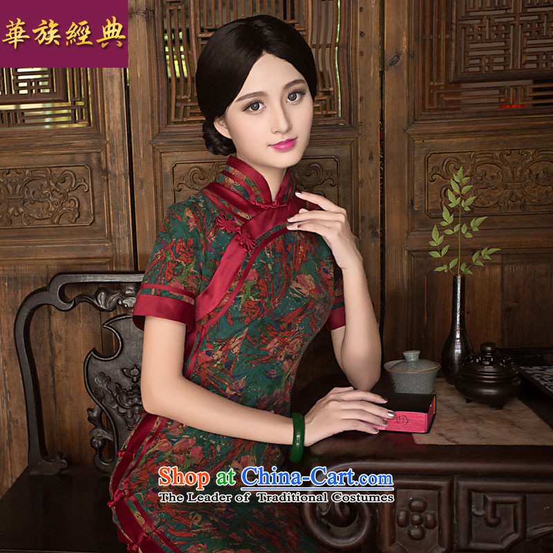 The new classic ethnic Chinese silk yarn Chinese Tang Heung cloud long_, Ms. cheongsam dress improved Stylish retro long length L