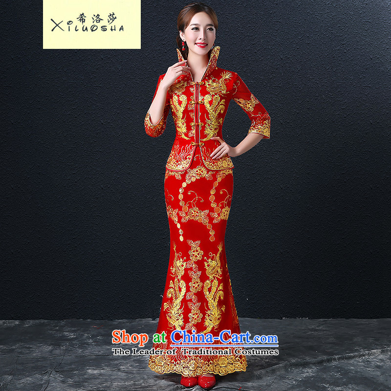 Hillo _XILUOSHA_ Elizabeth bride bows wedding dresses long-sleeved longfeng services use red wedding dress long bows dress Chinese autumn RED燤