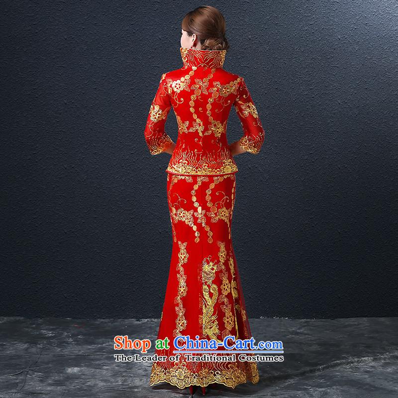 Hillo (XILUOSHA) Elizabeth bride bows wedding dresses long-sleeved longfeng services use red wedding dress long gown Chinese autumn bows RED聽M HILLO Lisa (XILUOSHA) , , , shopping on the Internet