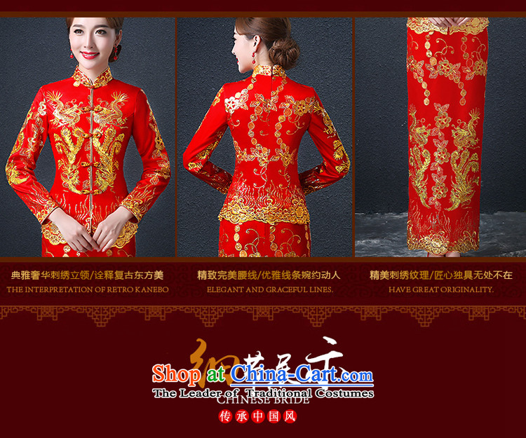 Hillo (XILUOSHA) Elizabeth wedding dress bridal dresses long of Chinese Dress Dragon use su kimono wedding dresses long-sleeved 2015 New Red XL Photo, prices, brand platters! The elections are supplied in the national character of distribution, so action, buy now enjoy more preferential! As soon as possible.