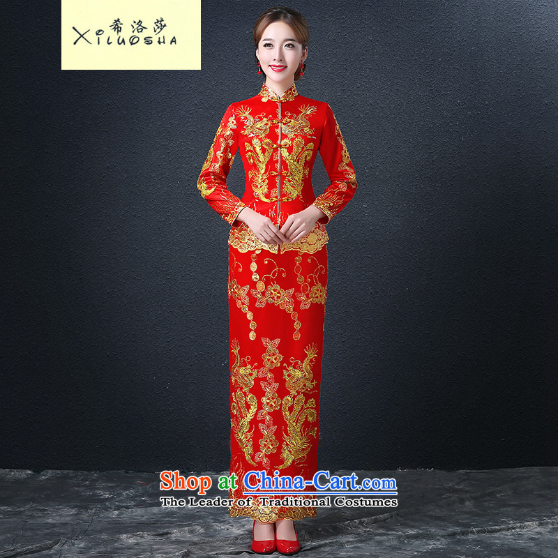 Hillo (XILUOSHA) Elizabeth wedding dress bridal dresses long of Chinese Dress Dragon use su kimono wedding dresses long-sleeved 2015 New Red XL