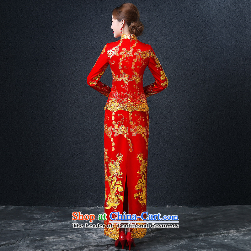 Hillo (XILUOSHA) Elizabeth wedding dress bridal dresses long of Chinese Dress Dragon use su kimono wedding dresses long-sleeved 2015 New Red XL, Hillo Lisa (XILUOSHA) , , , shopping on the Internet