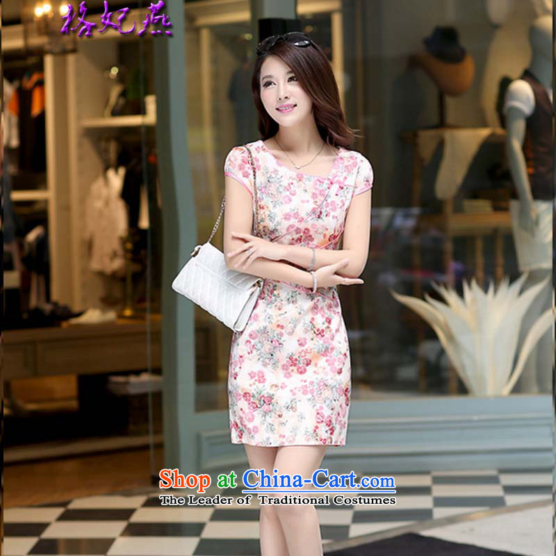 The Princess Of new women's 2015 Yan-round-neck collar embroidered dress qipao qipao Sau San 0990_ pink XL