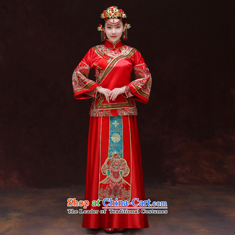 Tsai Hsin-soo Wo Service dream new retro Chinese wedding dresses bows services use Bong-sam Hui Har dragon costume show previous Popes are placed kimono wedding dress uniform set of clothes-hi?S Breast 94