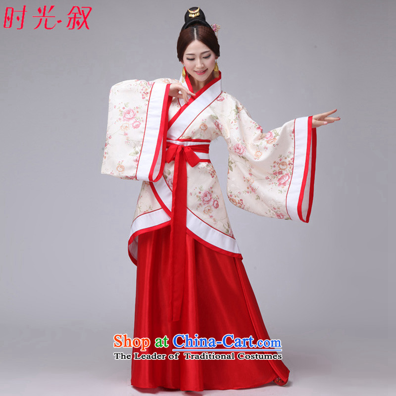 Time Syrian women's Han-han-track civil costume women's clothing Han-girl summer load fairies improved Han-ju skirts and dress photo album white photo building are suitable for 160-175cm code