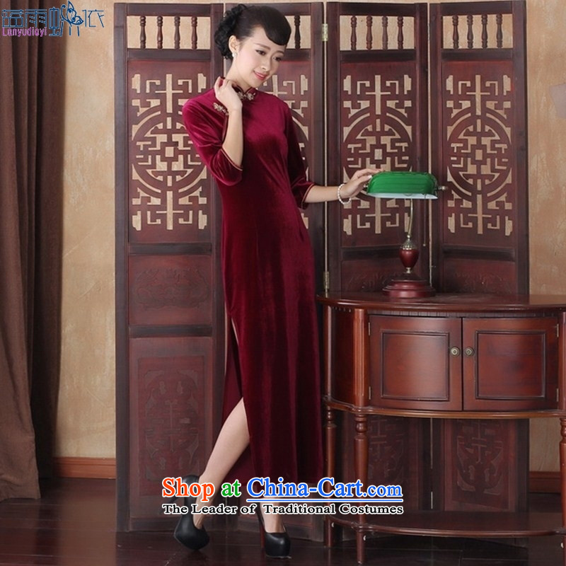 Kim scouring pads in the long qipao long-sleeved Chinese Antique banquet older qipao skirt SRCQ001 XL