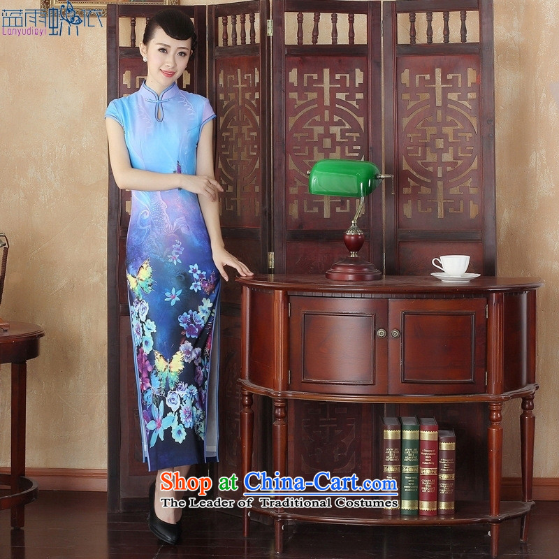 New Spring and Autumn long cheongsam high on the forklift truck and sexy retro large ceremonial stage performances dinner gown燙QP002 S