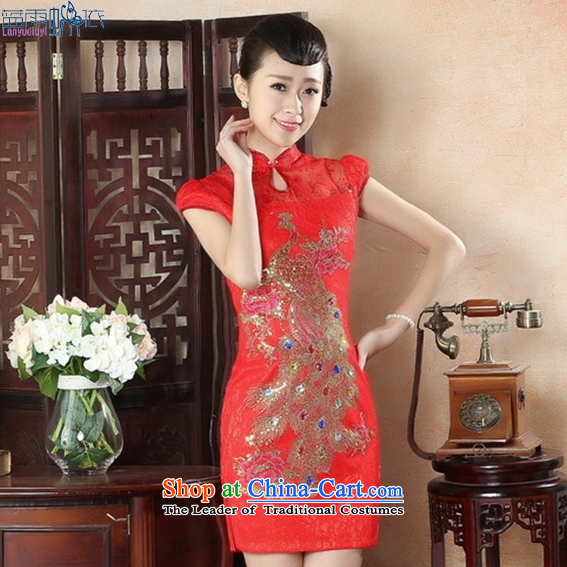 Elegant new dulls the skirt Fashion, bridal cheongsam dress short temperament gentlewoman embroidery cheongsam LS0010 Sau San XXL