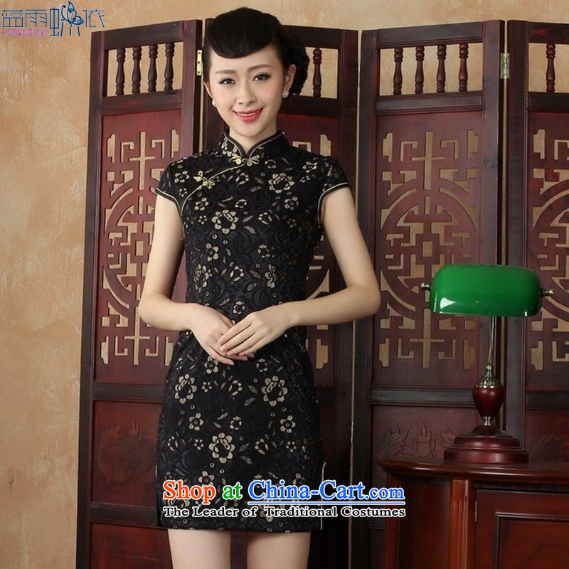 Qipao summer short of daily cheongsam dress lace flowers cheongsam black?M