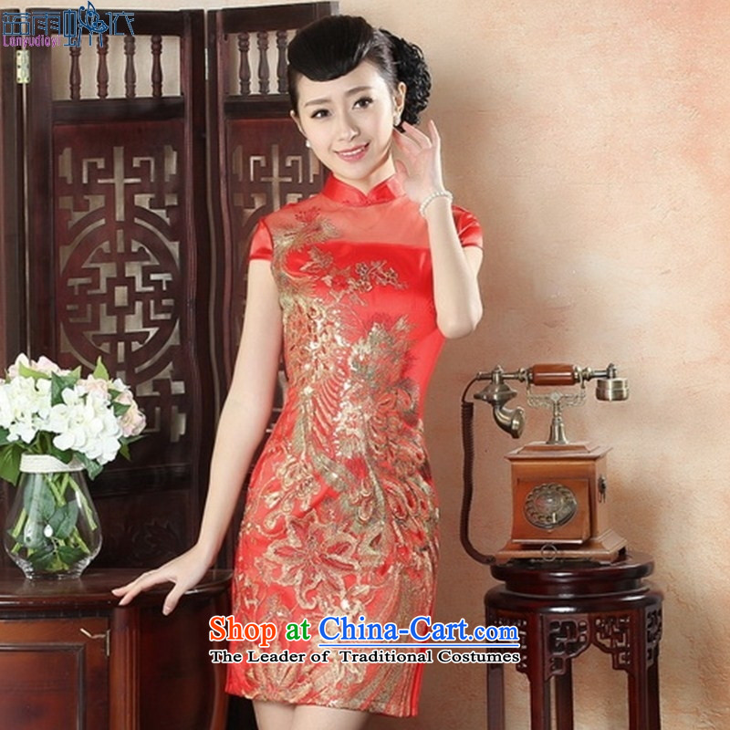 The new style qipao qipao skirt daily dresses elegance retro Sau San embroidery qipao video thin LS0011 M