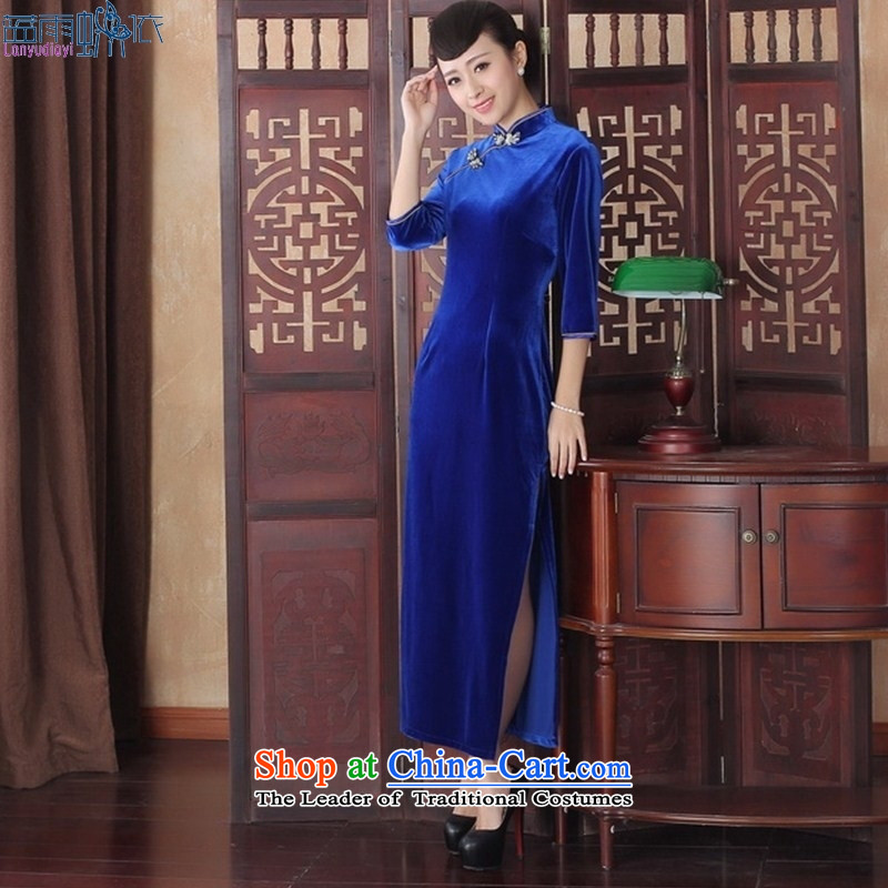 The new autumn and winter dresses in sexy cuff?Qipao Length, the velvet cheongsam dress SRCQ002 S