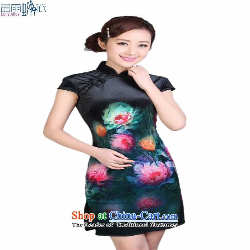Tang Dynasty qipao聽TD0003 Stretch Wool poster stylish Kim Classic short-sleeved short qipao black聽XXL