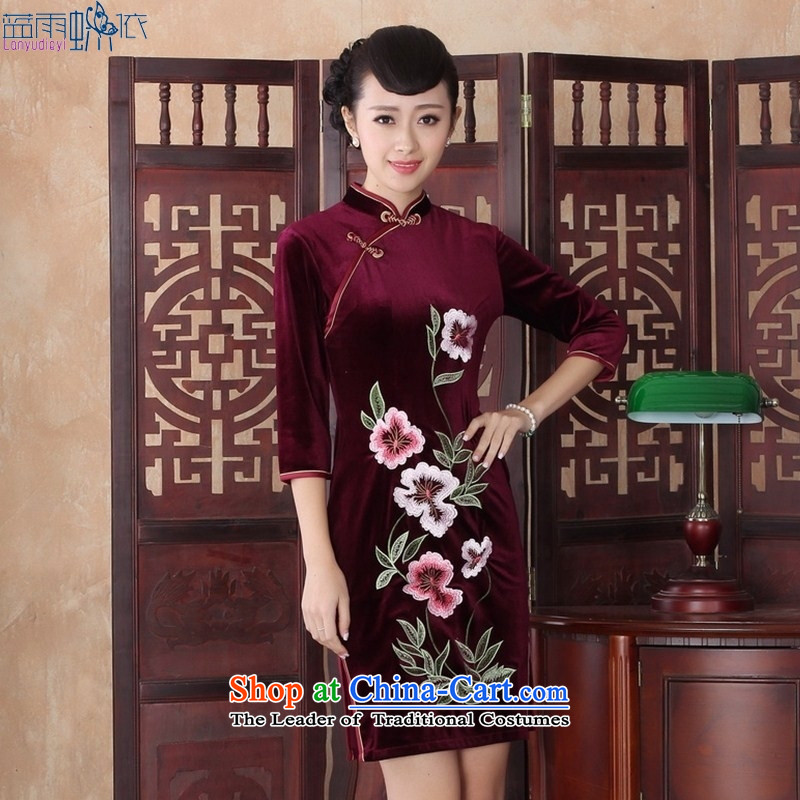The fall in stylish cheongsam dress retro daily video thin elegant gold Sau San velvet gown cheongsam�SRZX0020 mother XXL