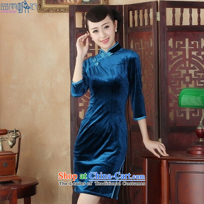 In the Stylish retro qipao velvet long-sleeved spring mother cheongsam dress SRZX0004 S