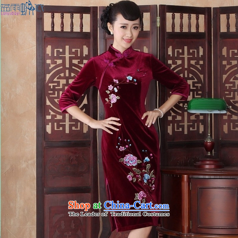 In the medium to long term, qipao tailoring the elderly in the long-sleeved xl wedding dresses mother Kim qipao skirt�SRZX0017 velvet S