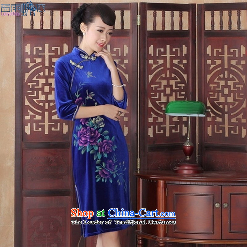 The spring and fall of nostalgia for the gold velour cheongsam look elegant graphics thin in Sau San cuff cheongsam dress�SRZX0014 S