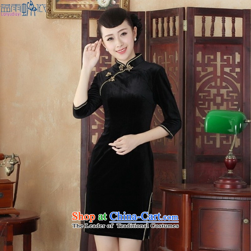 Retro style qipao skirt the elderly in embroidery mother qipao skirt Kim Wool Velvet cheongsam dress燬RZX0003 daily XL