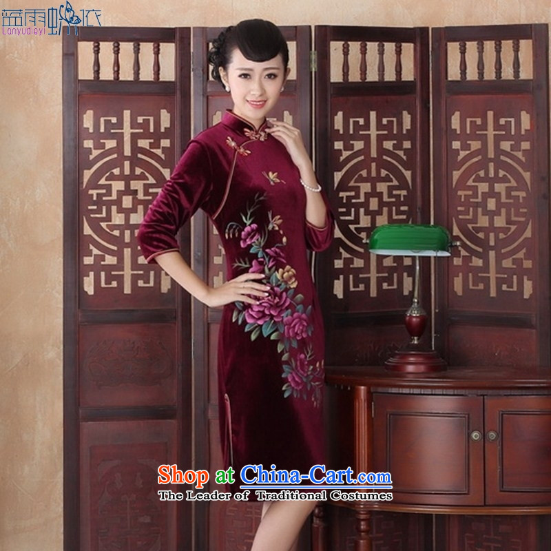 New autumn retro look elegant qipao Kim velvet video thin stylish lady in the Sau San cheongsam dress�SRZX0013 cuff XL