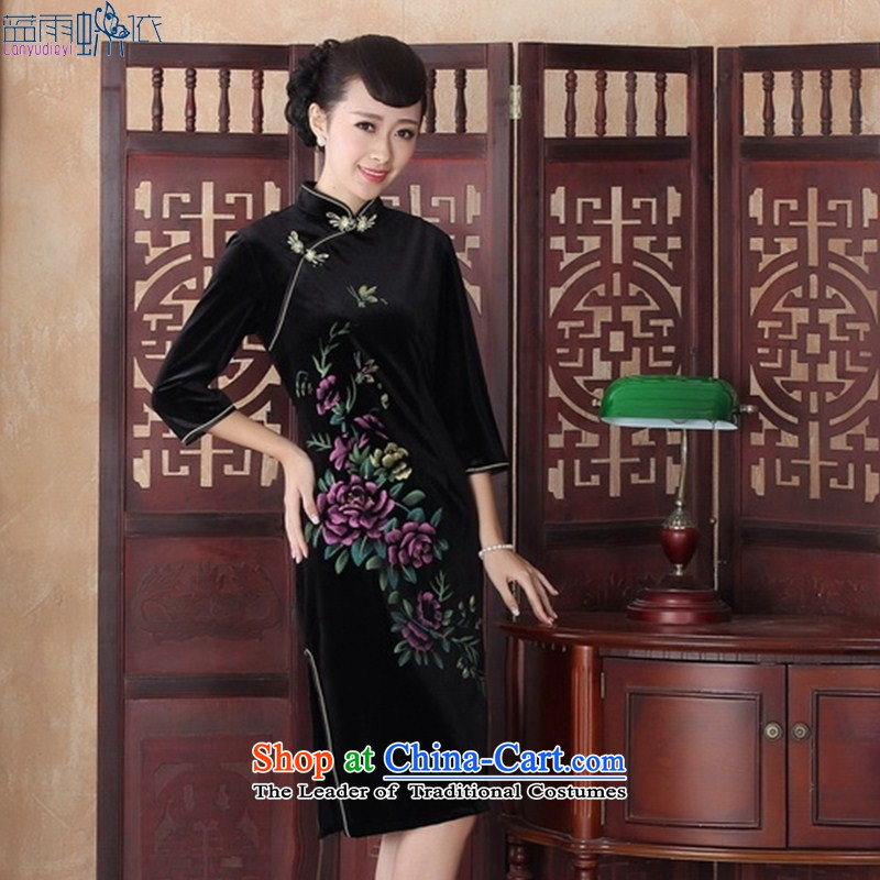 Qipao New hand-painted in long antique style qipao banquet qipao velvet skirt聽SRZX0012 XXL