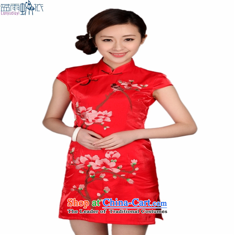 Tang dynasty qipao marriage wedding ceremonies flower embroidery show short cheongsam RED?M