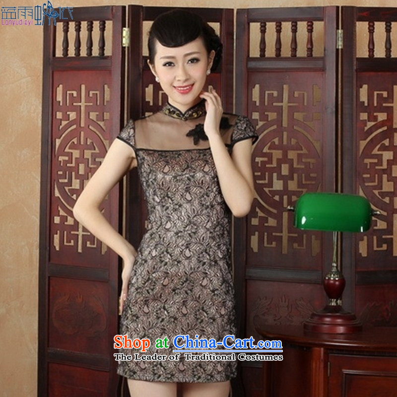 Qipao summer stylish new elegant short of daily cheongsam dress lace transparent qipao black�M