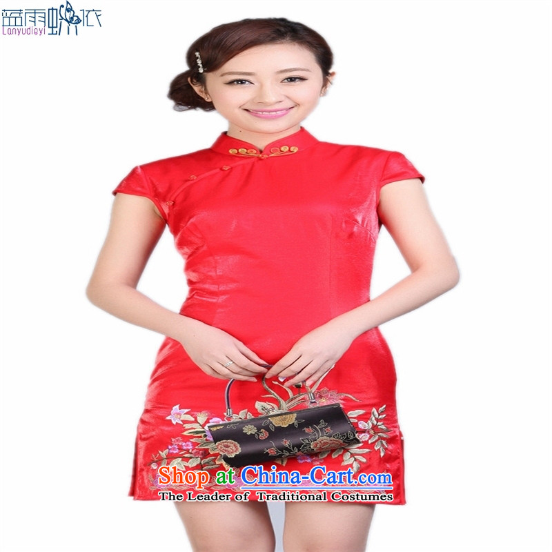 Tang dynasty cheongsam embroidery spend daily retro marriage wedding ceremonies show short qipao black M