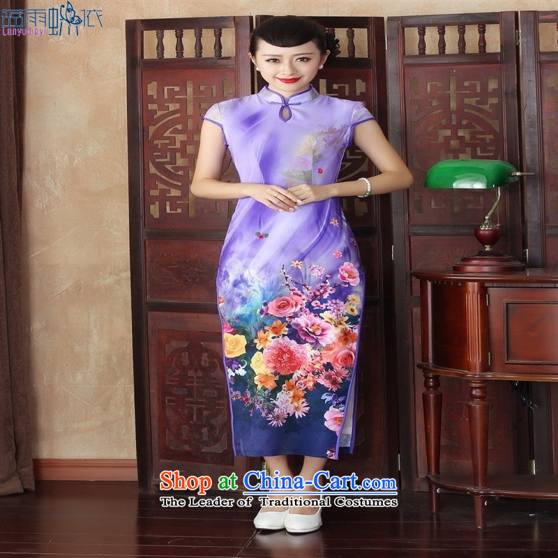 Stylish retro high autumn of the forklift truck diamond long cheongsam dress qipao banquet theatrical performances?CQP003 L