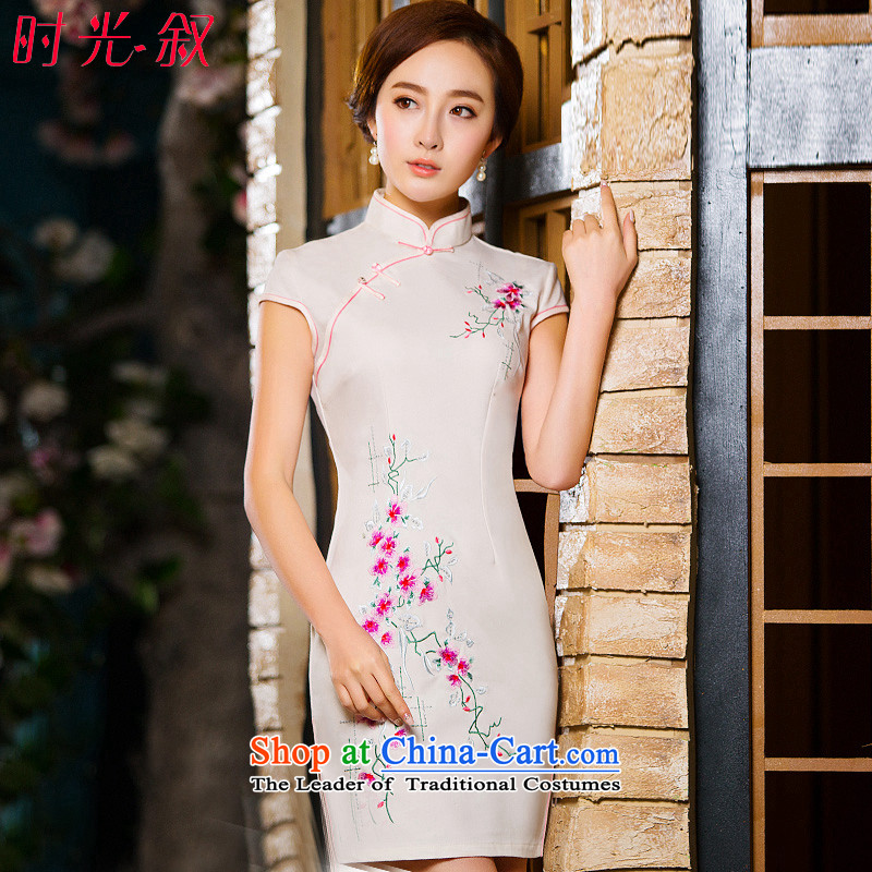Time the new 2015 Syria qipao Fall_Winter Collections of nostalgia for the improvement of the day-to-day qipao white dresses temperament female qipao White聽M