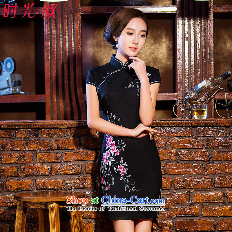 The Syrian Arab Republic� 2015 Autumn load time new cheongsam dress Stylish retro cheongsam dress daily improved short of Sau San dresses, qipao Black�XL