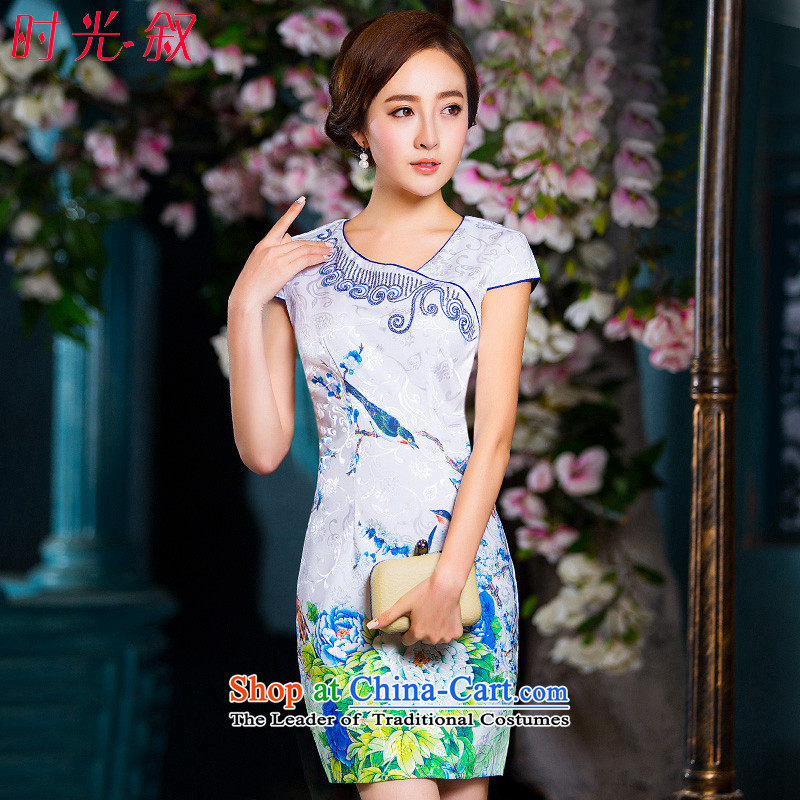 Time the new 2015 Syria qipao stylish large retro improved qipao skirt daily Ms. Sau San dresses, Choo replacing qipao short white聽M