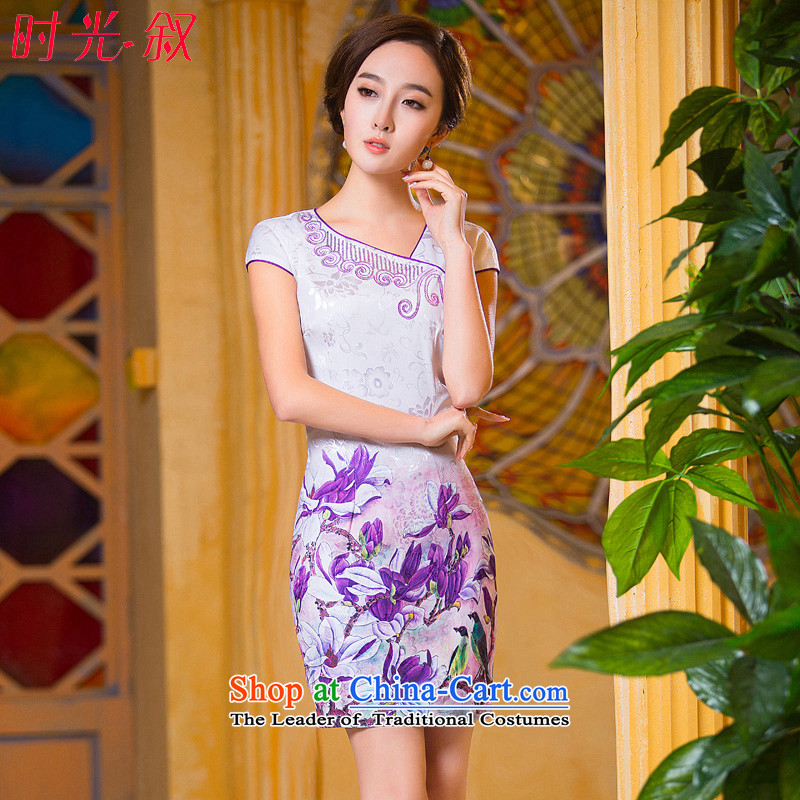 Time the new 2015 Syria qipao stylish large retro improved cheongsam dress purple daily Ms. Sau San dresses, Choo loaded short qipao purple S